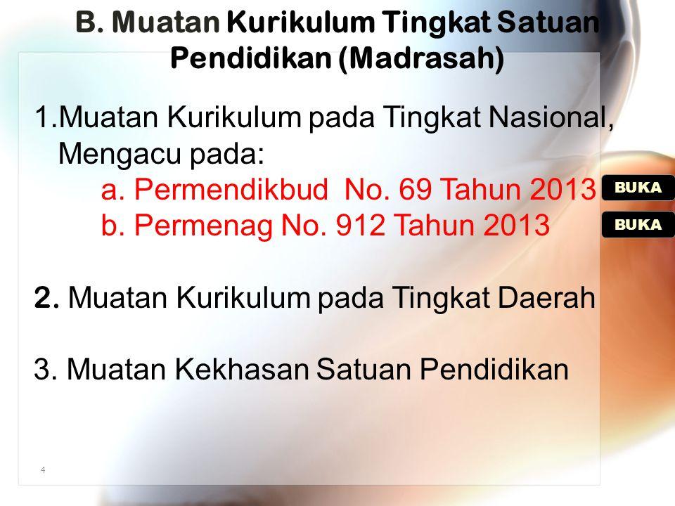 4 B. Muatan B. Muatan Kurikulum Tingkat Satuan Pendidikan (Madrasah) 1.Muatan Kurikulum pada Tingkat Nasional, Mengacu pada: a. Permendikbud No. 69 Ta
