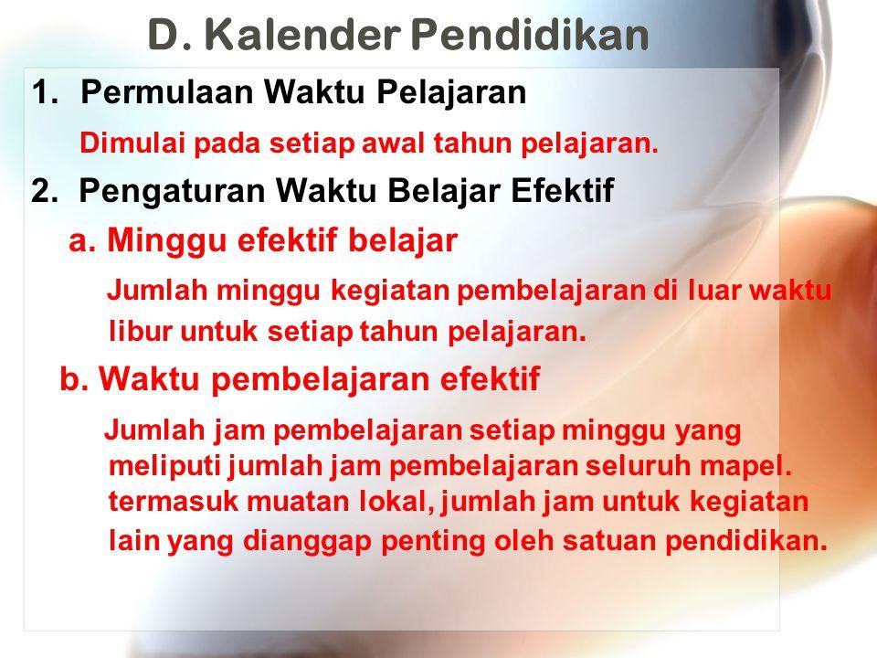 D.Kalender Pendidikan 3.