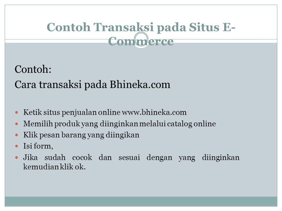 Contoh Transaksi pada Situs E- Commerce Contoh: Cara transaksi pada Bhineka.com Ketik situs penjualan online www.bhineka.com Memilih produk yang diing