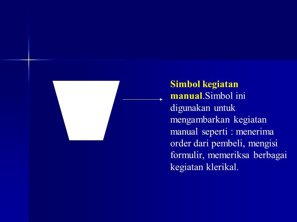 Simbol kegiatan manual.Simbol ini digunakan untuk mengambarkan kegiatan manual seperti : menerima order dari pembeli, mengisi formulir, memeriksa berb