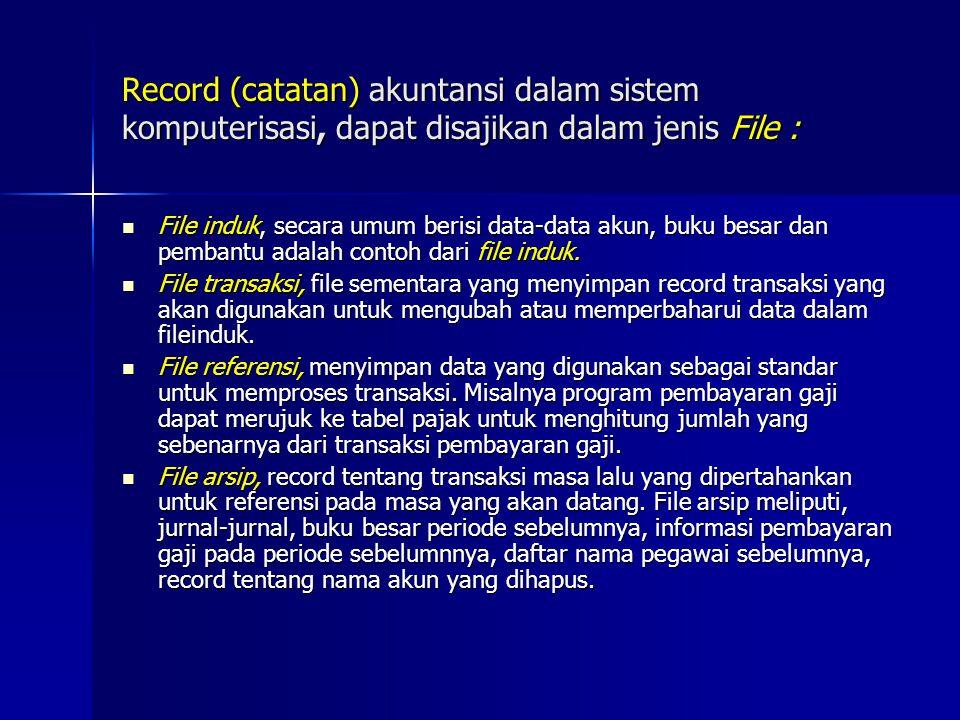 Record (catatan) akuntansi dalam sistem komputerisasi, dapat disajikan dalam jenis File : File induk, secara umum berisi data-data akun, buku besar dan pembantu adalah contoh dari file induk.