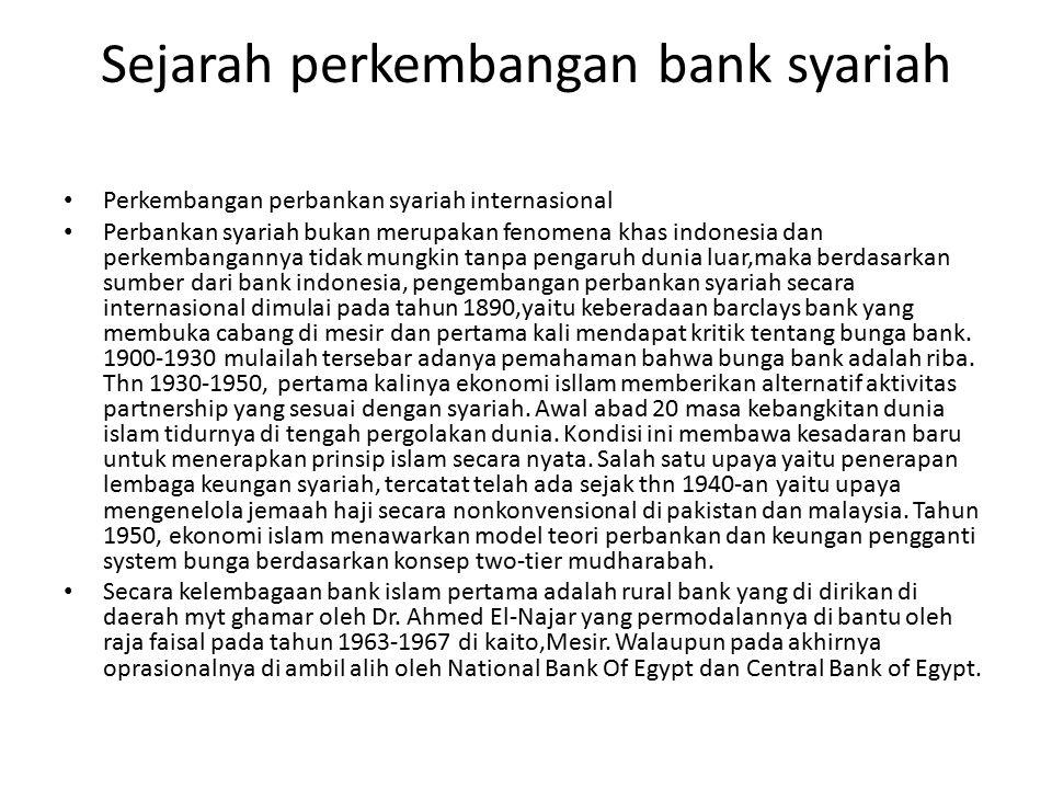 Sejarah perkembangan bank syariah Perkembangan perbankan syariah internasional Perbankan syariah bukan merupakan fenomena khas indonesia dan perkembangannya tidak mungkin tanpa pengaruh dunia luar,maka berdasarkan sumber dari bank indonesia, pengembangan perbankan syariah secara internasional dimulai pada tahun 1890,yaitu keberadaan barclays bank yang membuka cabang di mesir dan pertama kali mendapat kritik tentang bunga bank.