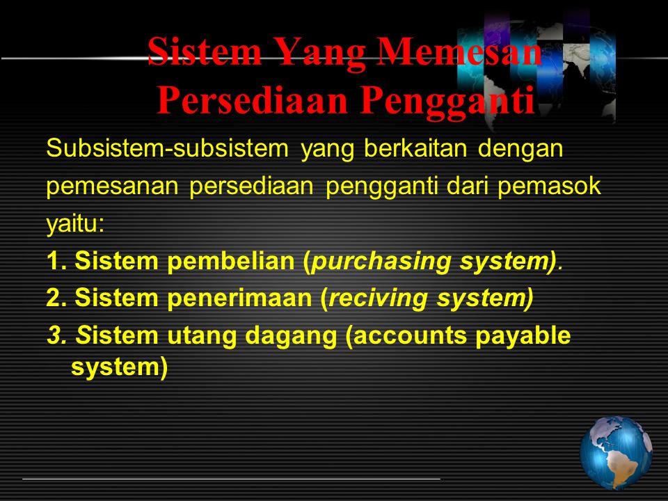 Sistem Yang Memesan Persediaan Pengganti Subsistem-subsistem yang berkaitan dengan pemesanan persediaan pengganti dari pemasok yaitu: 1.