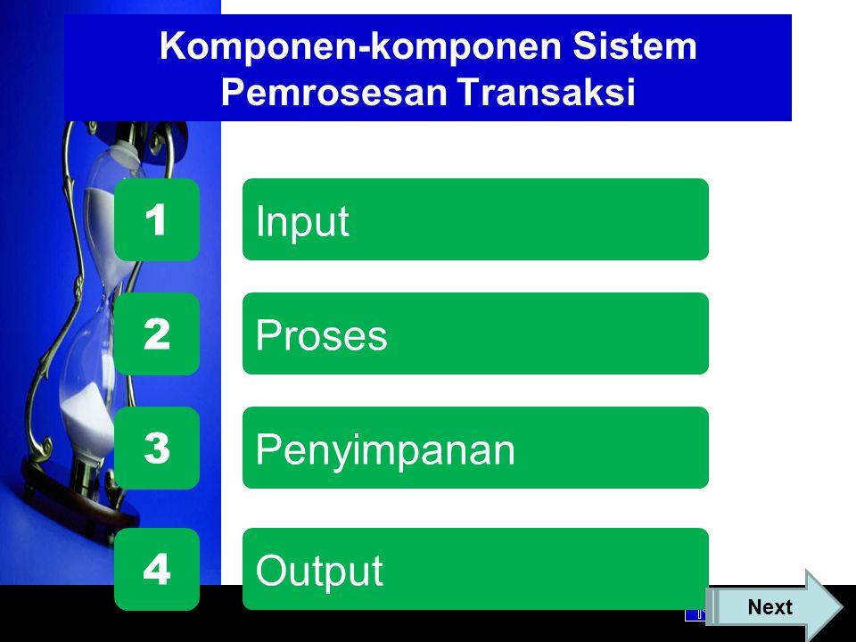 Komponen-komponen Sistem Pemrosesan Transaksi Proses 2 Penyimpanan 1 Input 3 Output 4 Next