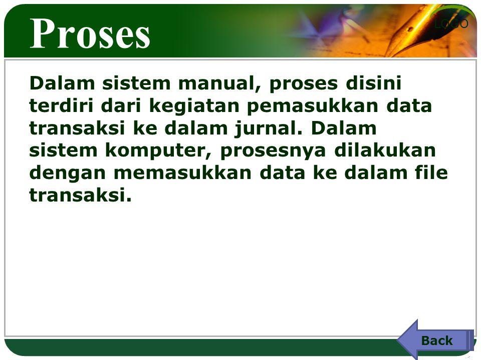 LOGO Proses Dalam sistem manual, proses disini terdiri dari kegiatan pemasukkan data transaksi ke dalam jurnal.