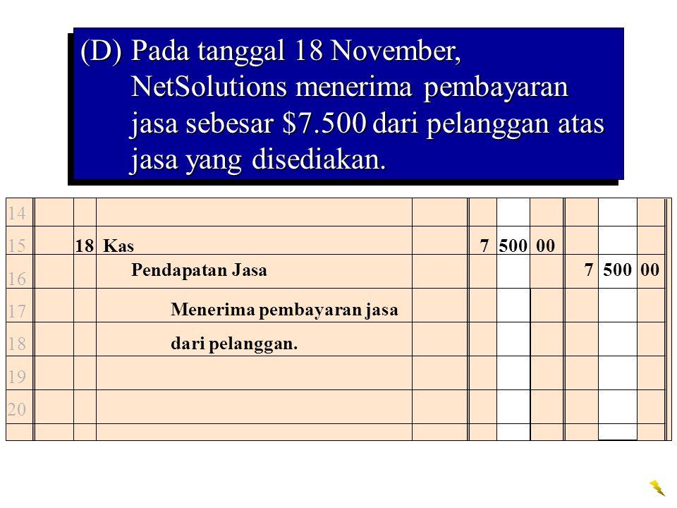 (D)Pada tanggal 18 November, NetSolutions menerima pembayaran jasa sebesar $7.500 dari pelanggan atas jasa yang disediakan. 18Kas7 500 00 Pendapatan J