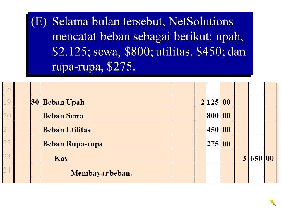(E)Selama bulan tersebut, NetSolutions mencatat beban sebagai berikut: upah, $2.125; sewa, $800; utilitas, $450; dan rupa-rupa, $275.