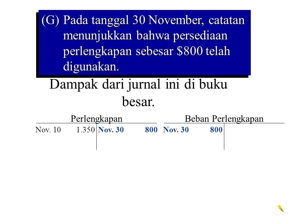Dampak dari jurnal ini di buku besar. Perlengkapan Nov. 101.350 Beban Perlengkapan Nov. 30 800 (G)Pada tanggal 30 November, catatan menunjukkan bahwa