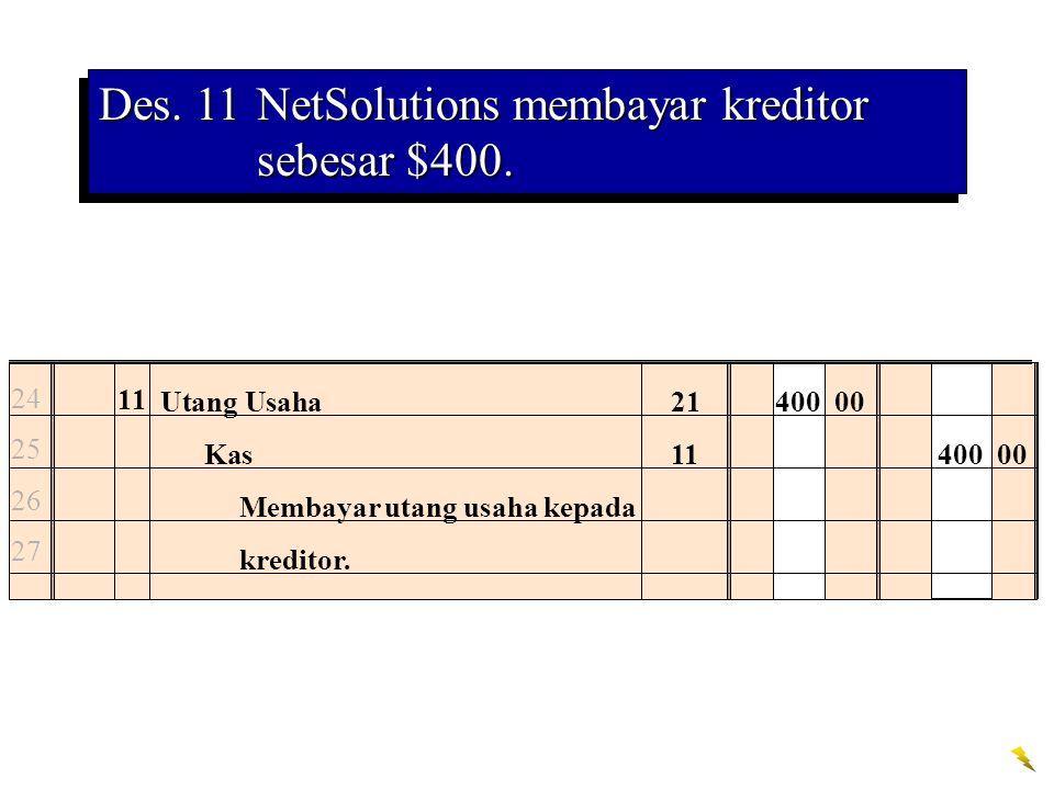 Des. 11NetSolutions membayar kreditor sebesar $400. 24 25 26 27 11 Utang Usaha21400 00 Kas11400 00 Membayar utang usaha kepada kreditor.