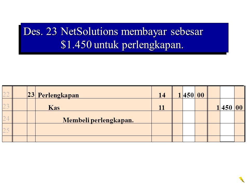 Des. 23NetSolutions membayar sebesar $1.450 untuk perlengkapan. 22 23 24 25 23 Perlengkapan141 450 00 Kas111 450 00 Membeli perlengkapan.