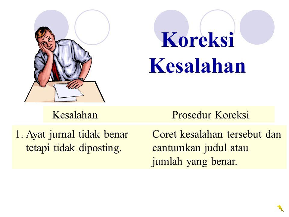 Error Correction Procedure 1.Ayat jurnal tidak benar Coret kesalahan tersebut dan tetapi tidak diposting.cantumkan judul atau jumlah yang benar. Kesal