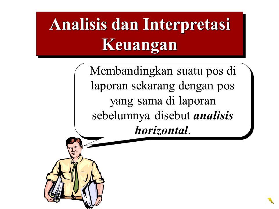 Analisis dan Interpretasi Keuangan Membandingkan suatu pos di laporan sekarang dengan pos yang sama di laporan sebelumnya disebut analisis horizontal.