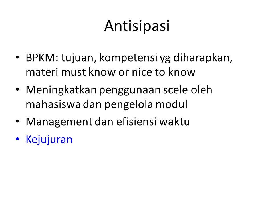 Antisipasi BPKM: tujuan, kompetensi yg diharapkan, materi must know or nice to know Meningkatkan penggunaan scele oleh mahasiswa dan pengelola modul M