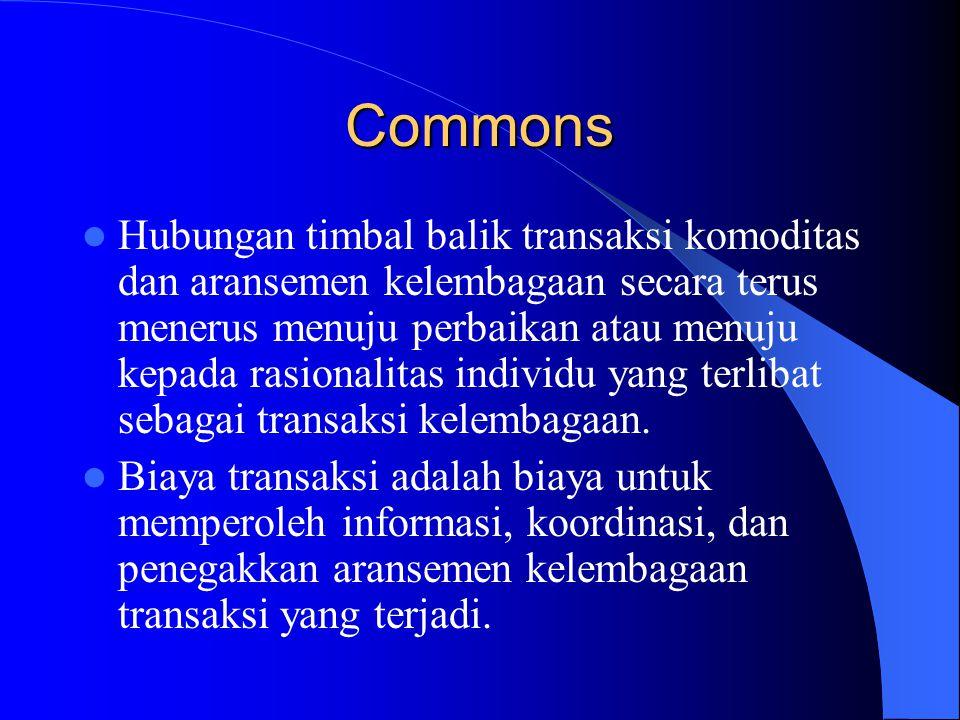 Commons Hubungan timbal balik transaksi komoditas dan aransemen kelembagaan secara terus menerus menuju perbaikan atau menuju kepada rasionalitas individu yang terlibat sebagai transaksi kelembagaan.