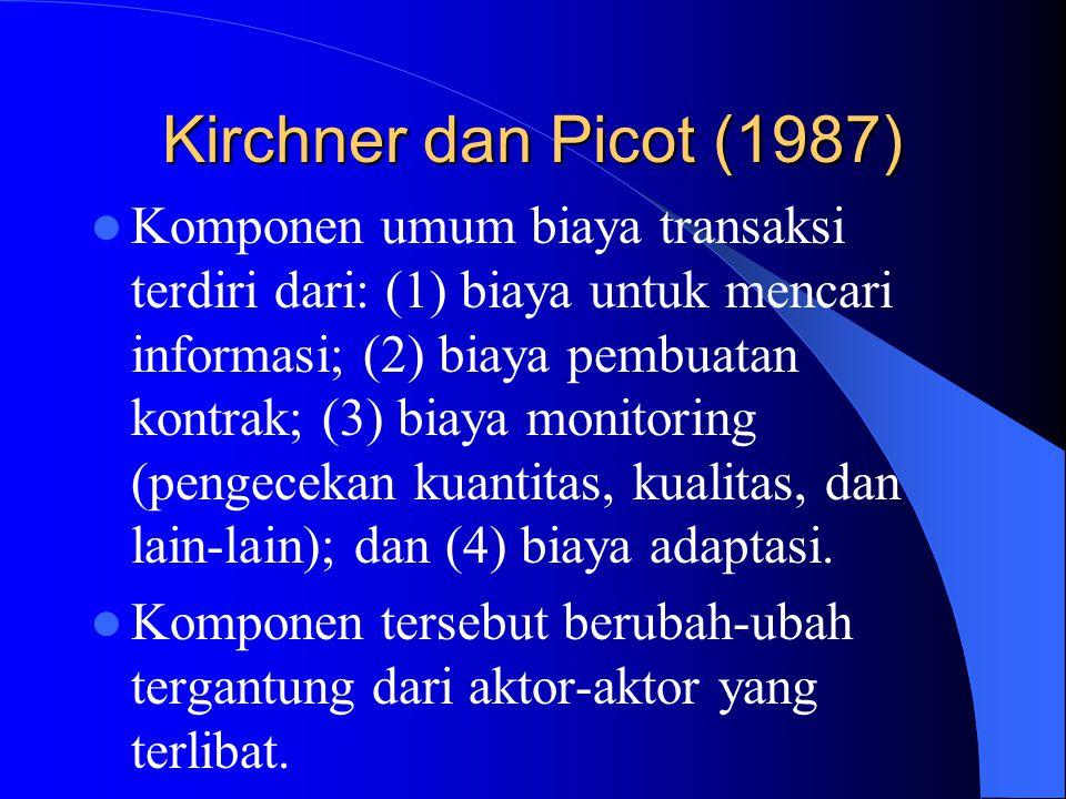 Kirchner dan Picot (1987) Komponen umum biaya transaksi terdiri dari: (1) biaya untuk mencari informasi; (2) biaya pembuatan kontrak; (3) biaya monitoring (pengecekan kuantitas, kualitas, dan lain-lain); dan (4) biaya adaptasi.