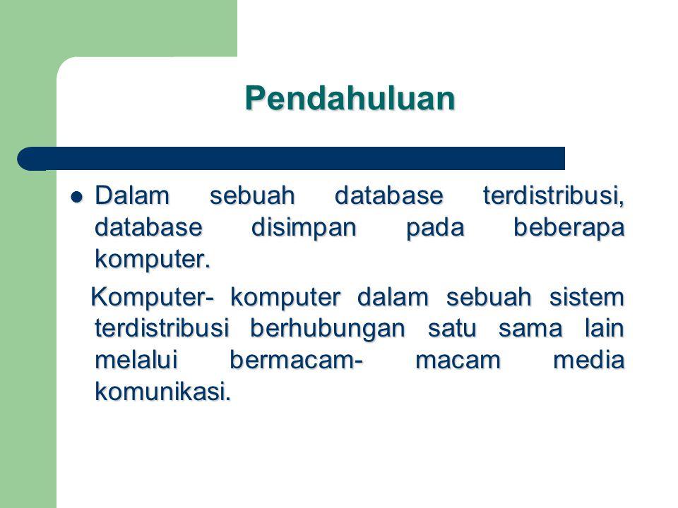 2.FRAGMENTASI Data dalam tabel dipilah dan disebar ke dalam sejumlah simpul yang berbeda-beda.