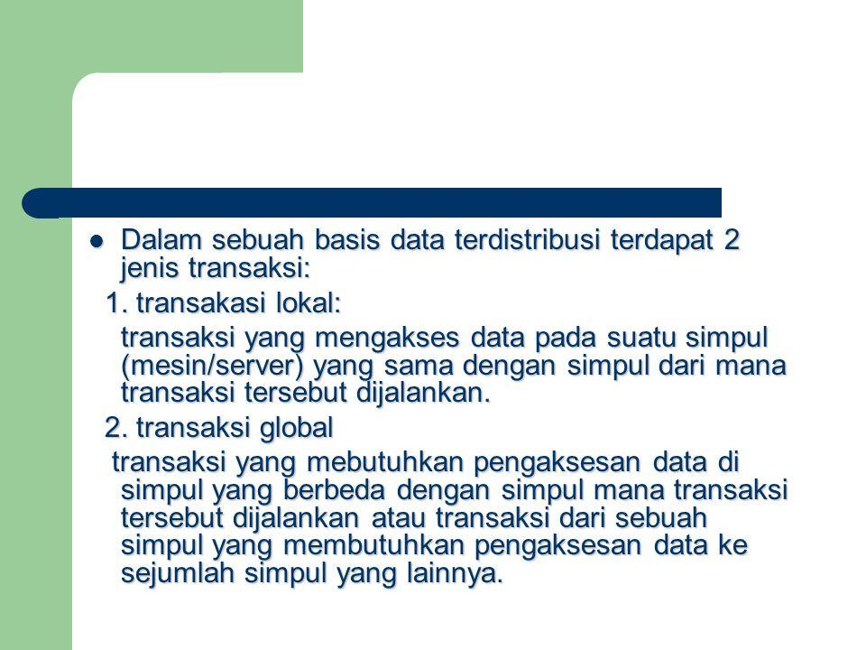 Dalam sebuah basis data terdistribusi terdapat 2 jenis transaksi: Dalam sebuah basis data terdistribusi terdapat 2 jenis transaksi: 1. transakasi loka