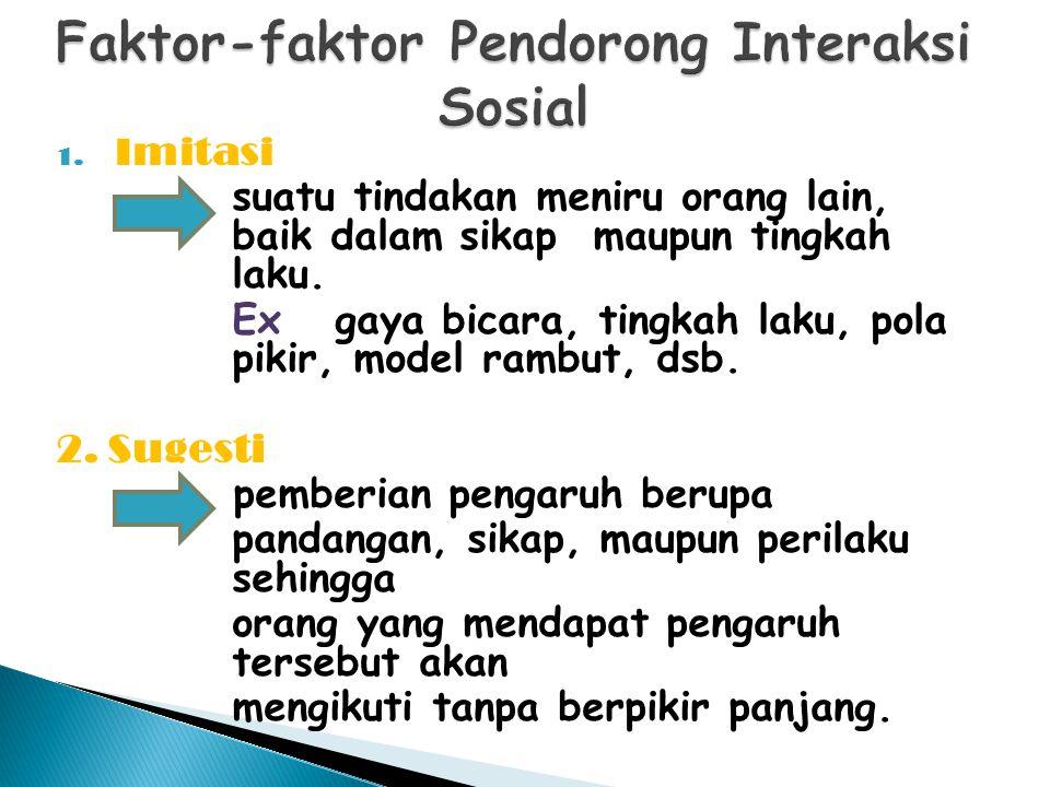 1. Imitasi suatu tindakan meniru orang lain, baik dalam sikap maupun tingkah laku. Ex: gaya bicara, tingkah laku, pola pikir, model rambut, dsb. 2. Su