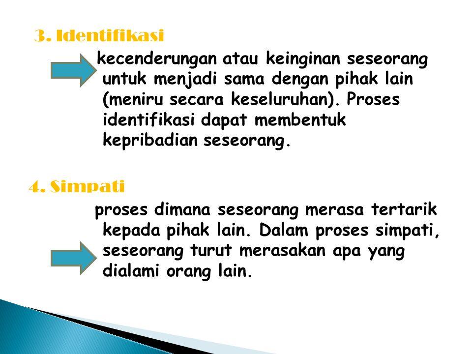3. Identifikasi kecenderungan atau keinginan seseorang untuk menjadi sama dengan pihak lain (meniru secara keseluruhan). Proses identifikasi dapat mem