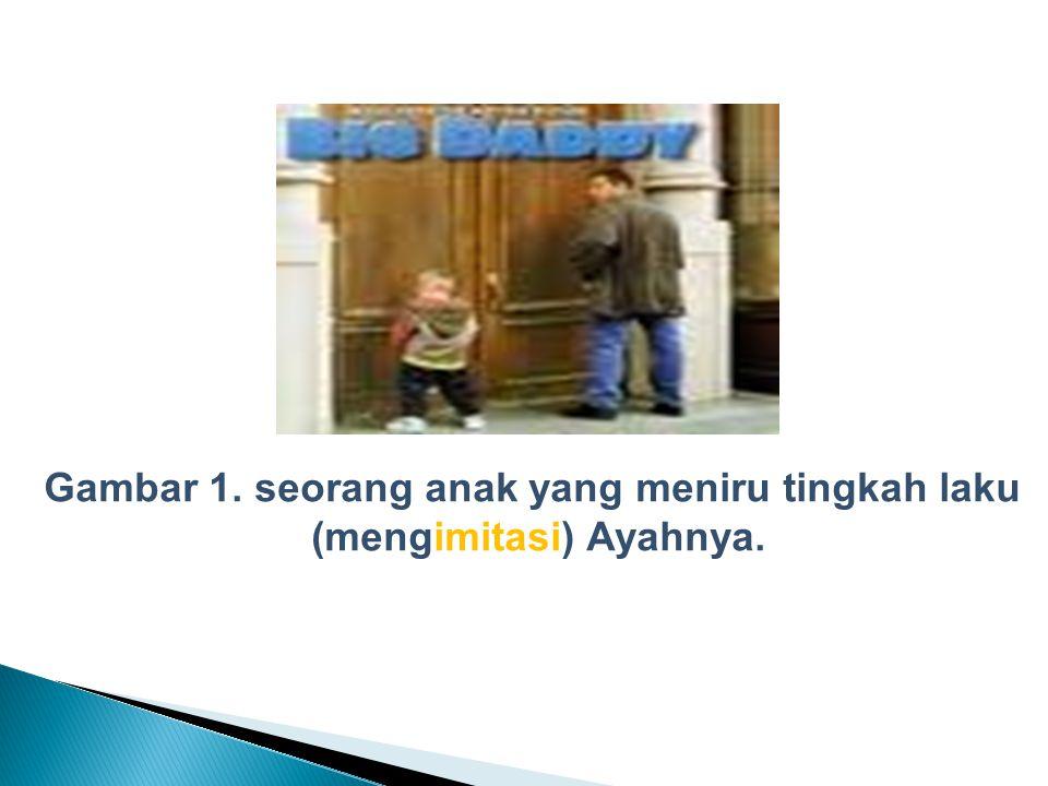 Gambar 1. seorang anak yang meniru tingkah laku (mengimitasi) Ayahnya.