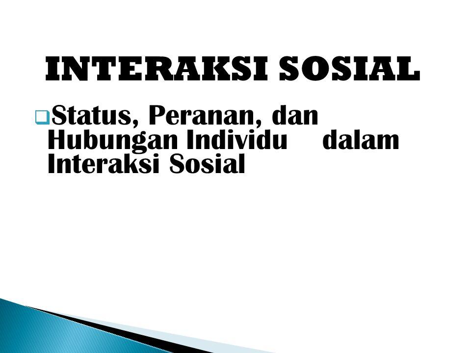 INTERAKSI SOSIAL  Status, Peranan, dan Hubungan Individu dalam Interaksi Sosial