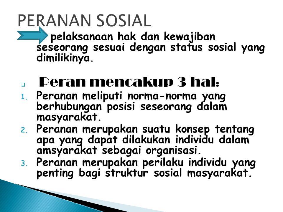pelaksanaan hak dan kewajiban seseorang sesuai dengan status sosial yang dimilikinya.  Peran mencakup 3 hal : 1. Peranan meliputi norma-norma yang be