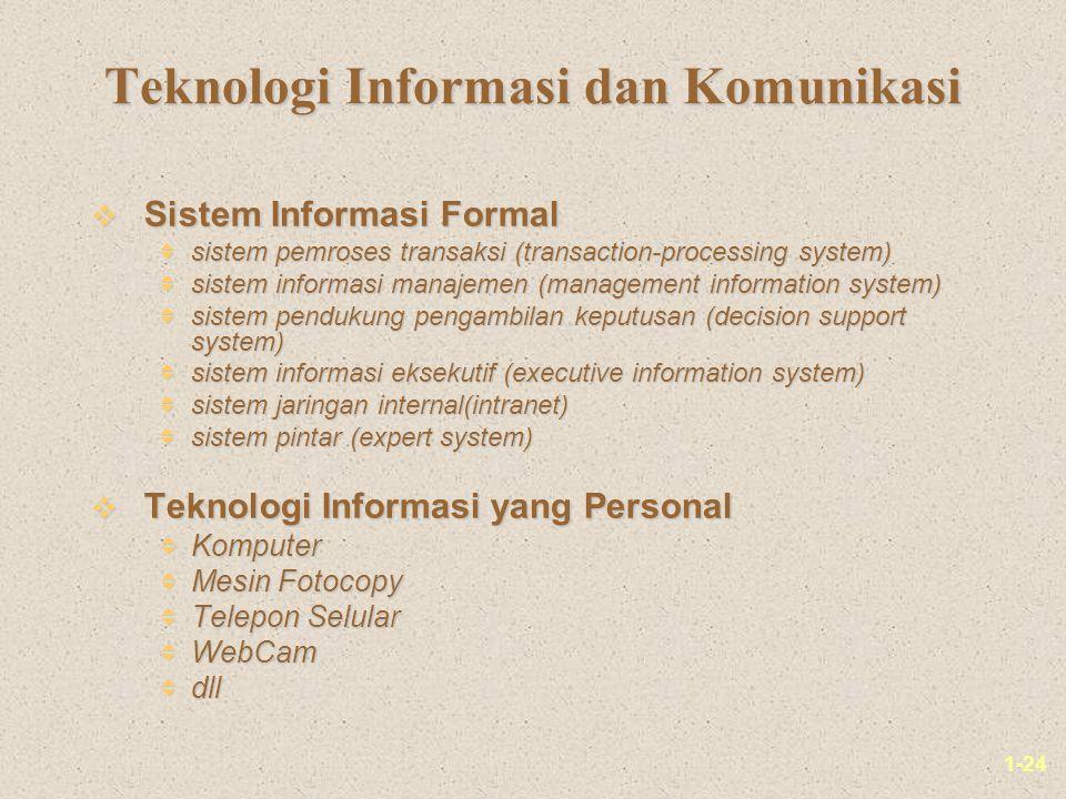 1-24 Teknologi Informasi dan Komunikasi v Sistem Informasi Formal  sistem pemroses transaksi (transaction-processing system)  sistem informasi manaj