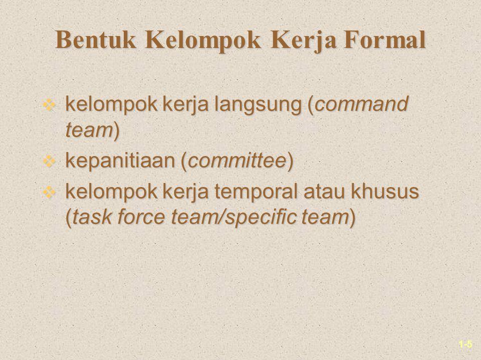 1-5 Bentuk Kelompok Kerja Formal v kelompok kerja langsung (command team) v kepanitiaan (committee) v kelompok kerja temporal atau khusus (task force