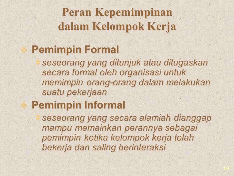 1-7 Peran Kepemimpinan dalam Kelompok Kerja v Pemimpin Formal  seseorang yang ditunjuk atau ditugaskan secara formal oleh organisasi untuk memimpin o