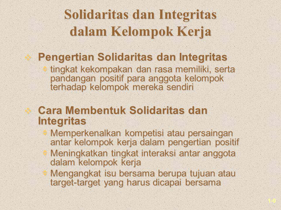 1-9 Solidaritas dan Integritas dalam Kelompok Kerja v Pengertian Solidaritas dan Integritas  tingkat kekompakan dan rasa memiliki, serta pandangan po