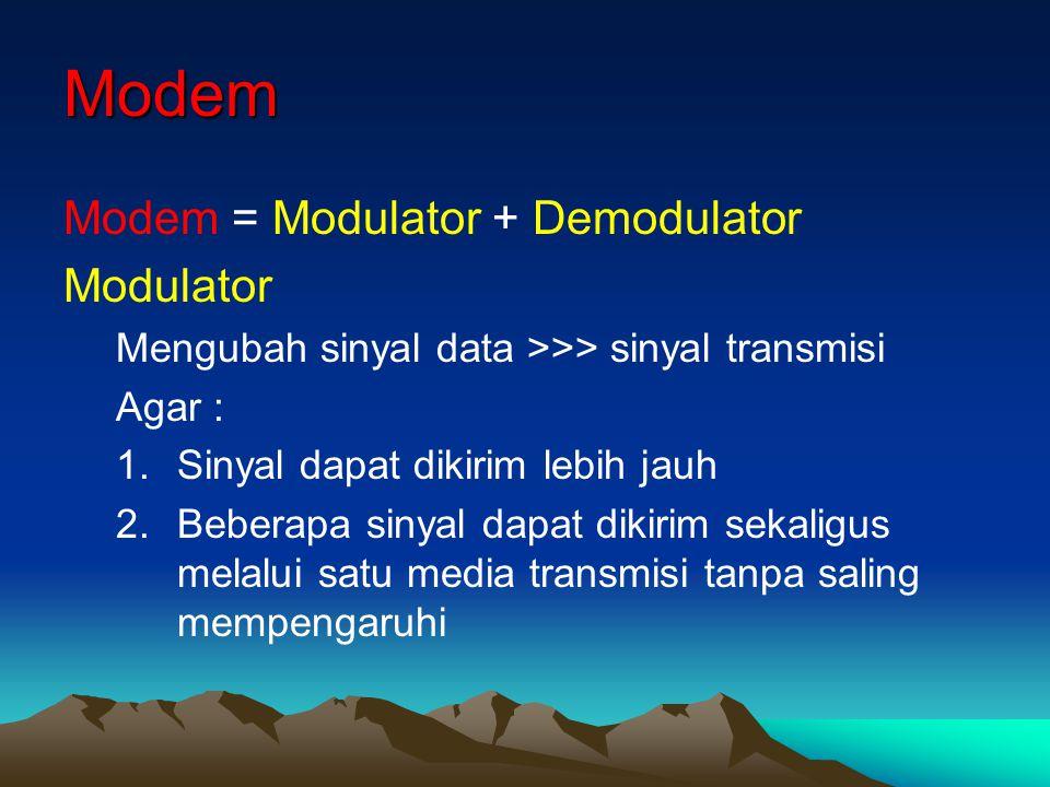 Modem Modem = Modulator + Demodulator Modulator Mengubah sinyal data >>> sinyal transmisi Agar : 1.Sinyal dapat dikirim lebih jauh 2.Beberapa sinyal d