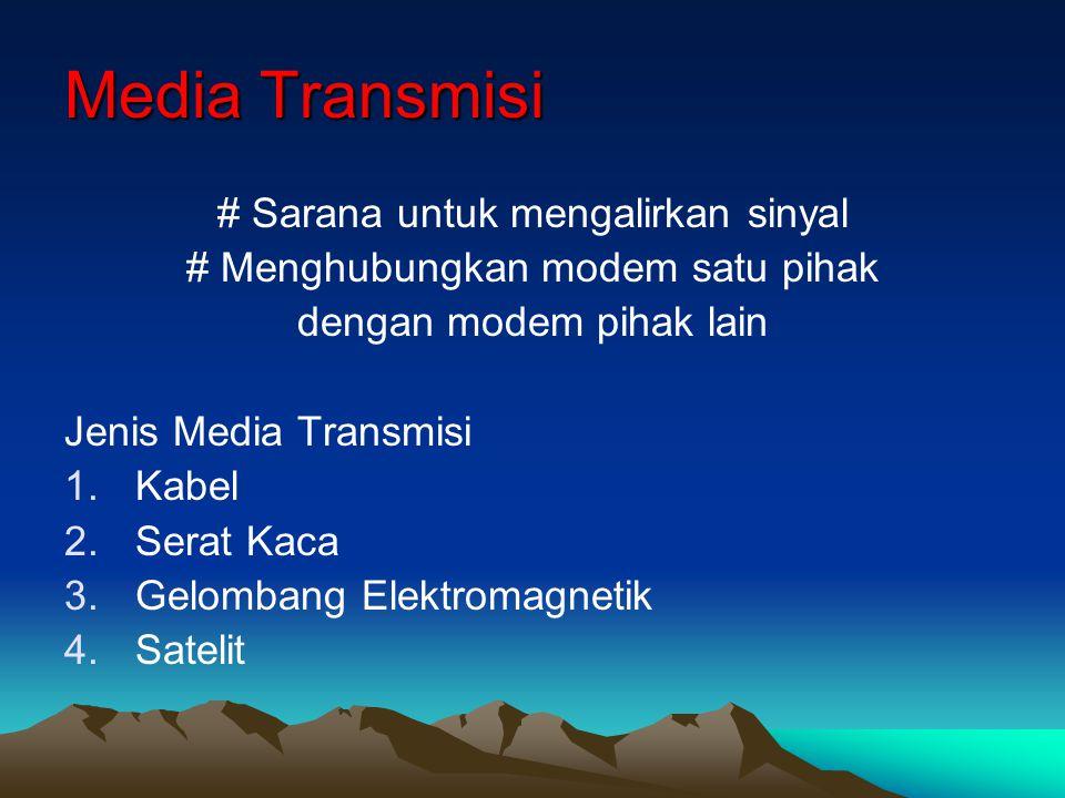 Media Transmisi # Sarana untuk mengalirkan sinyal # Menghubungkan modem satu pihak dengan modem pihak lain Jenis Media Transmisi 1.Kabel 2.Serat Kaca