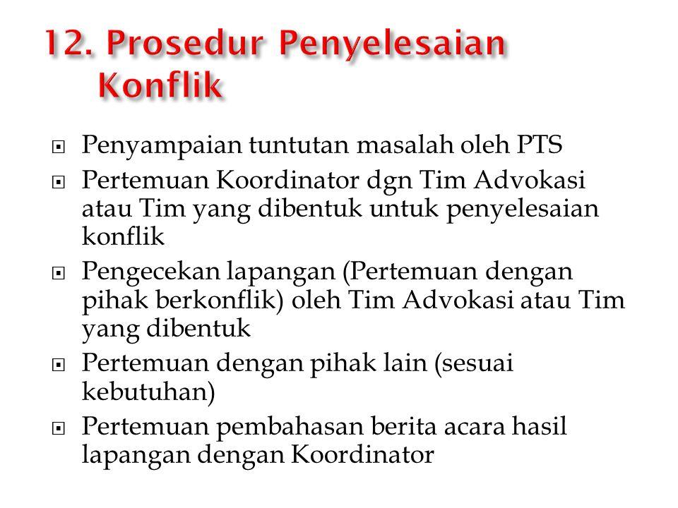  Penyampaian tuntutan masalah oleh PTS  Pertemuan Koordinator dgn Tim Advokasi atau Tim yang dibentuk untuk penyelesaian konflik  Pengecekan lapang