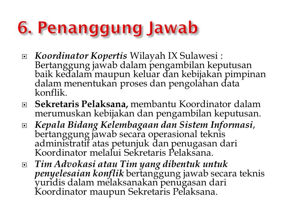  Koordinator Kopertis Wilayah IX Sulawesi : Bertanggung jawab dalam pengambilan keputusan baik kedalam maupun keluar dan kebijakan pimpinan dalam men