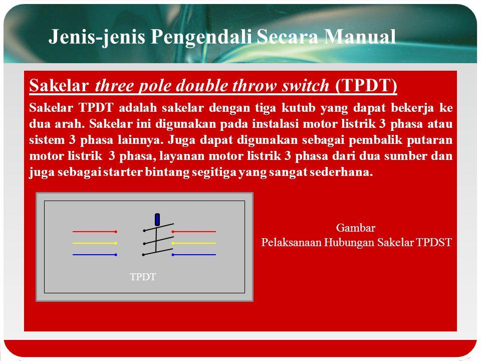 Sakelar three pole single throw switch (TPST) Sakelar DPST adalah sakelar yang terdiri dari dua kutub dengan satu arah, dan hanya dapat memutus dan me