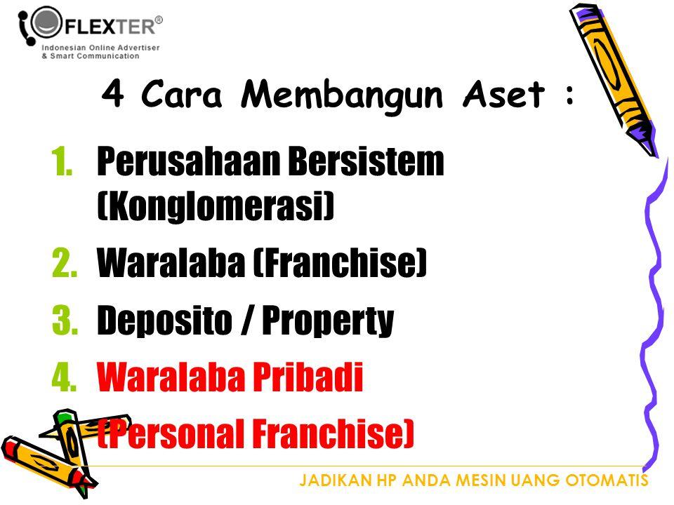 JADIKAN HP ANDA MESIN UANG OTOMATIS 4 Cara Membangun Aset : 1.Perusahaan Bersistem (Konglomerasi) 2.Waralaba (Franchise) 3.Deposito / Property 4.Waralaba Pribadi (Personal Franchise)