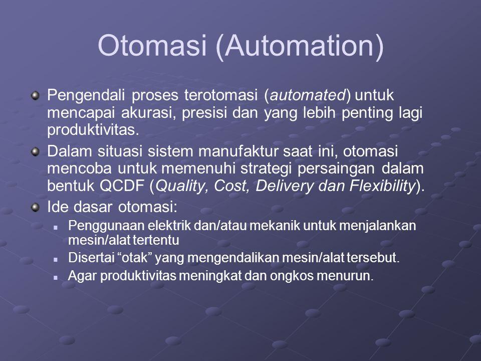 Otomasi (Automation) Pengendali proses terotomasi (automated) untuk mencapai akurasi, presisi dan yang lebih penting lagi produktivitas. Dalam situasi