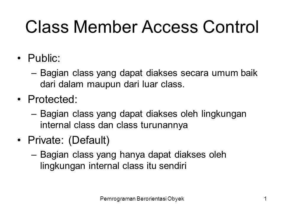 Pemrograman Berorientasi Obyek1 Class Member Access Control Public: –Bagian class yang dapat diakses secara umum baik dari dalam maupun dari luar class.