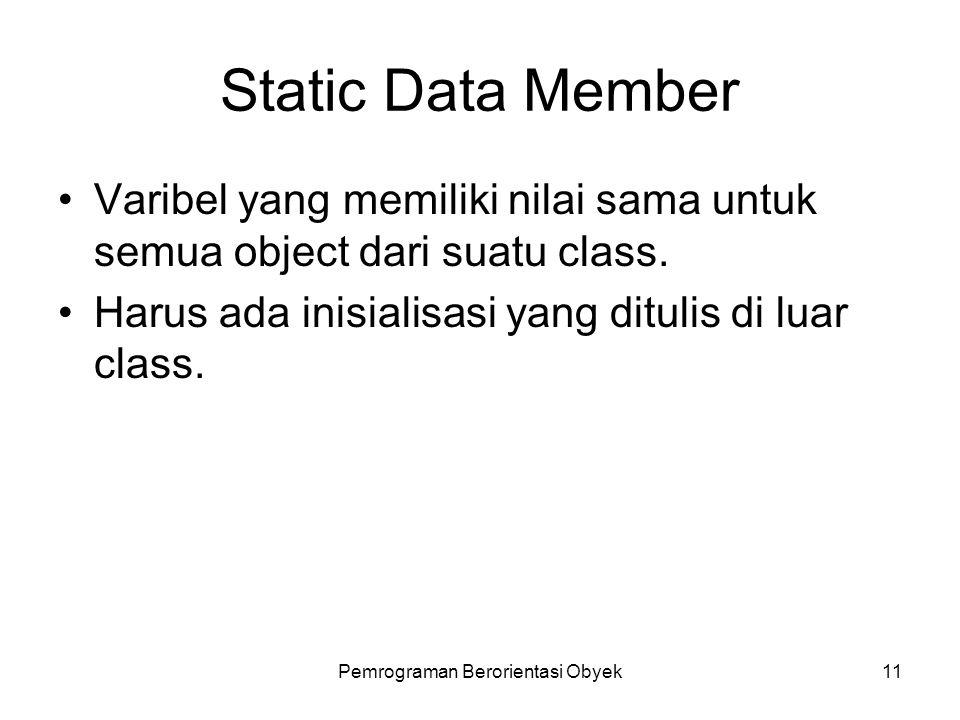 Pemrograman Berorientasi Obyek10 Static Data Member