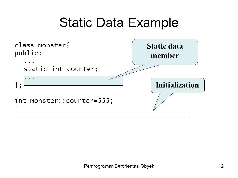 Pemrograman Berorientasi Obyek11 Static Data Member Varibel yang memiliki nilai sama untuk semua object dari suatu class.