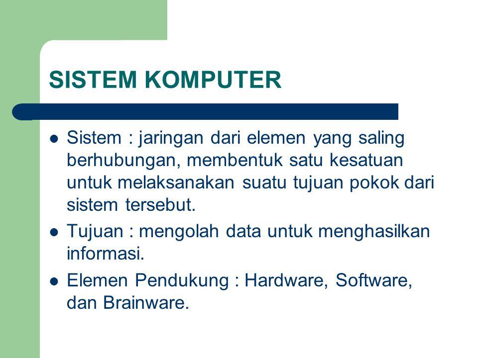 SISTEM KOMPUTER Sistem : jaringan dari elemen yang saling berhubungan, membentuk satu kesatuan untuk melaksanakan suatu tujuan pokok dari sistem terse