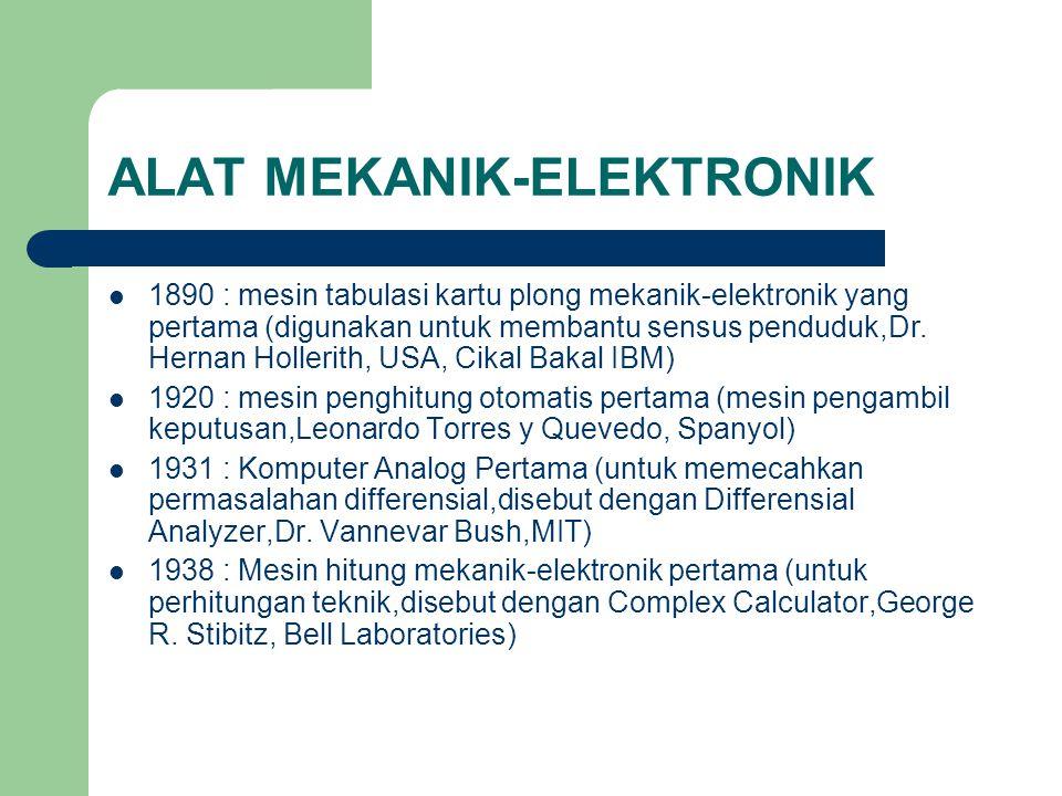 ALAT MEKANIK-ELEKTRONIK 1890 : mesin tabulasi kartu plong mekanik-elektronik yang pertama (digunakan untuk membantu sensus penduduk,Dr. Hernan Holleri