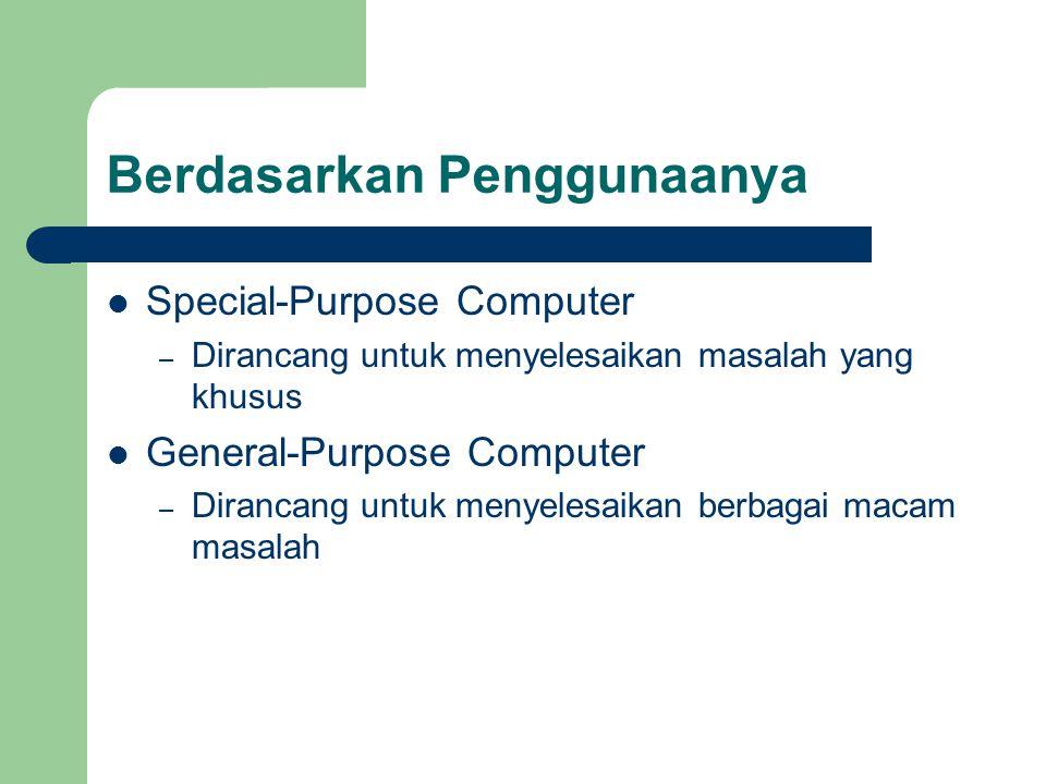 Berdasarkan Penggunaanya Special-Purpose Computer – Dirancang untuk menyelesaikan masalah yang khusus General-Purpose Computer – Dirancang untuk menye