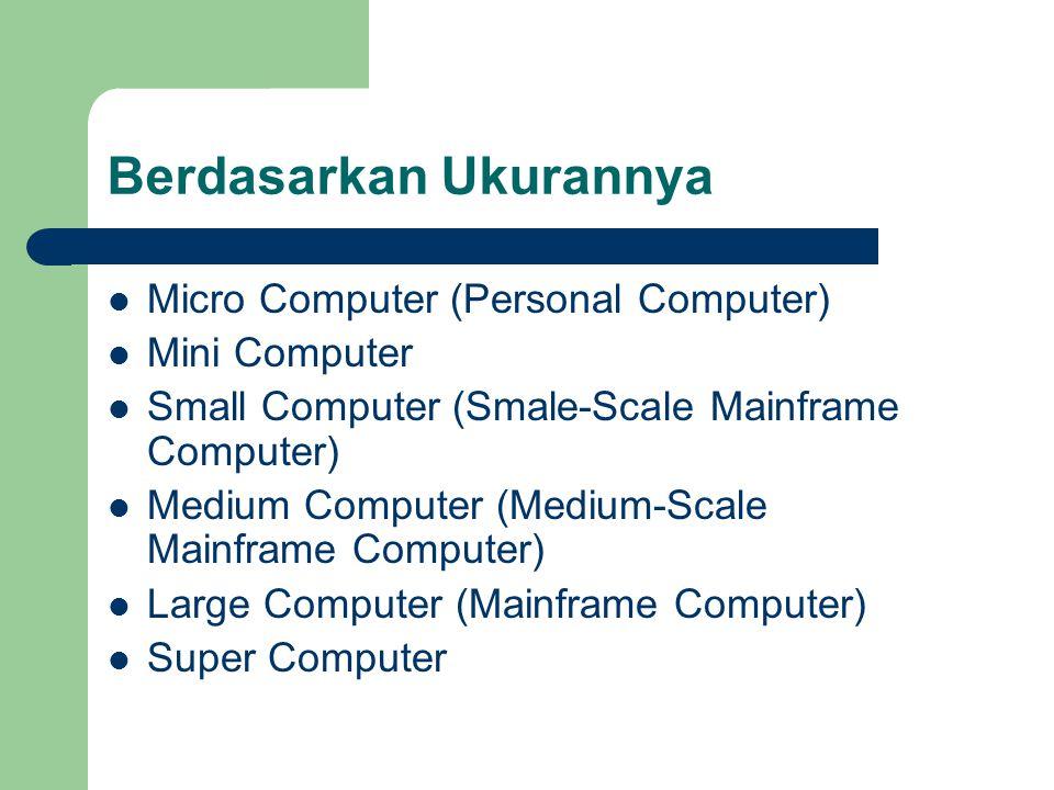 Berdasarkan Ukurannya Micro Computer (Personal Computer) Mini Computer Small Computer (Smale-Scale Mainframe Computer) Medium Computer (Medium-Scale M