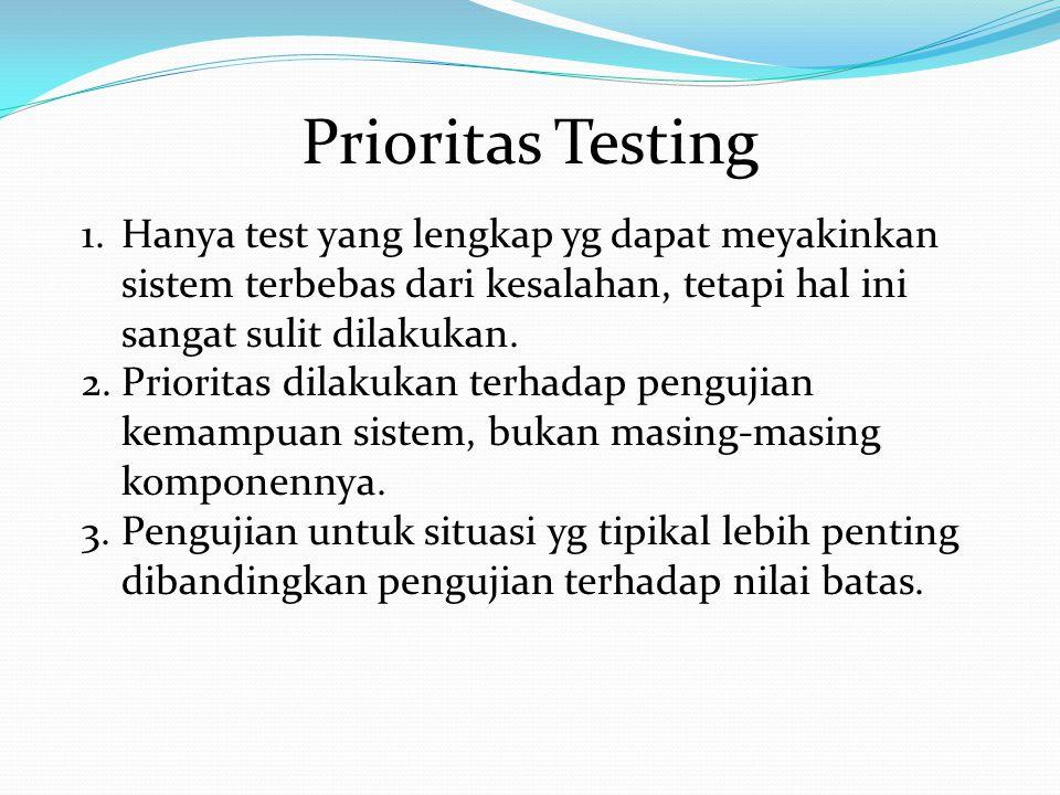 Prioritas Testing 1.Hanya test yang lengkap yg dapat meyakinkan sistem terbebas dari kesalahan, tetapi hal ini sangat sulit dilakukan. 2.Prioritas dil