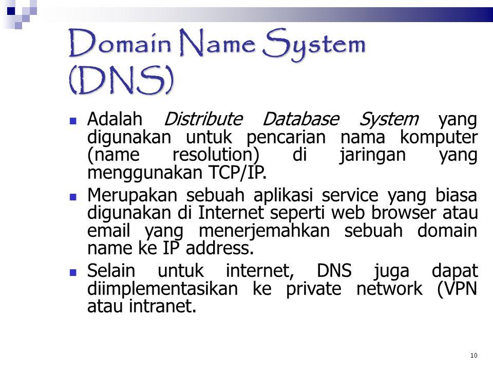 Domain Name System (DNS)  Adalah Distribute Database System yang digunakan untuk pencarian nama komputer (name resolution) di jaringan yang menggunak