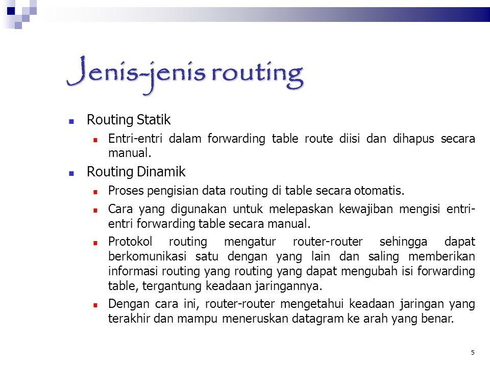 Jenis-jenis routing Routing Statik Entri-entri dalam forwarding table route diisi dan dihapus secara manual. Routing Dinamik Proses pengisian data rou
