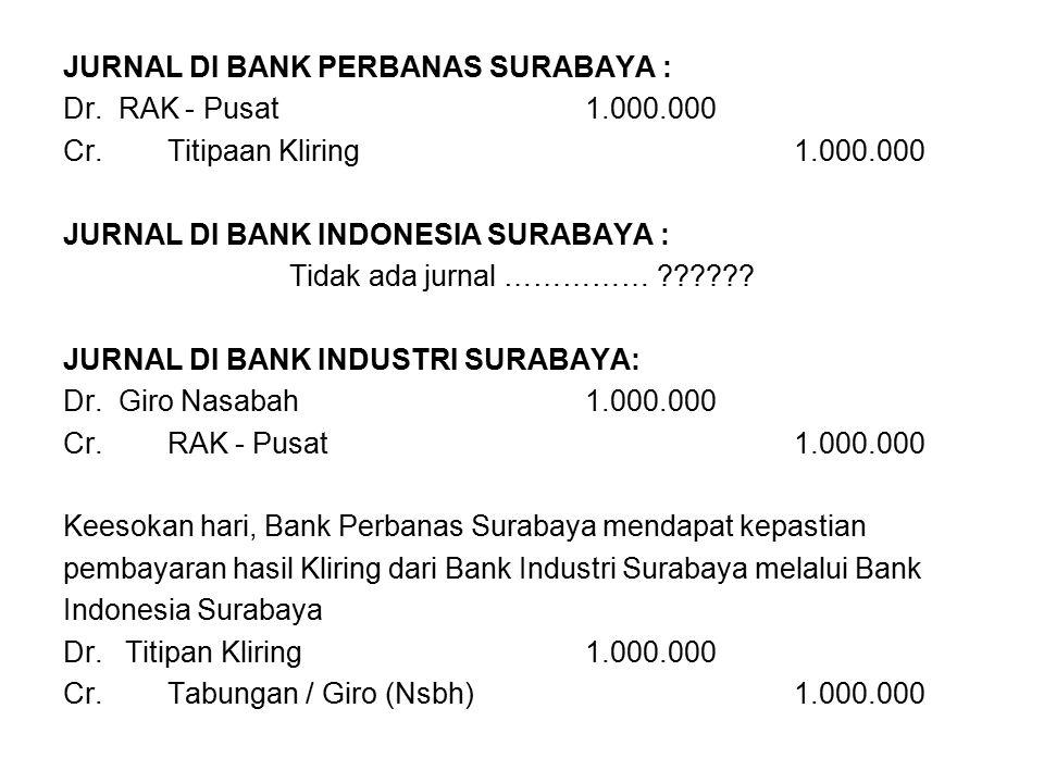 JURNAL DI BANK PERBANAS SURABAYA : Dr. RAK - Pusat1.000.000 Cr.Titipaan Kliring1.000.000 JURNAL DI BANK INDONESIA SURABAYA : Tidak ada jurnal …………… ??
