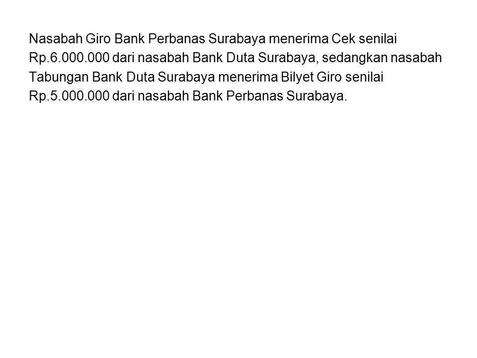 Nasabah Giro Bank Perbanas Surabaya menerima Cek senilai Rp.6.000.000 dari nasabah Bank Duta Surabaya, sedangkan nasabah Tabungan Bank Duta Surabaya m