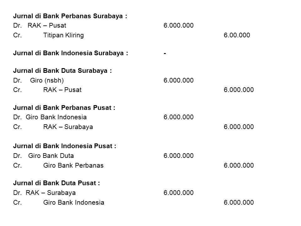 Jurnal di Bank Perbanas Surabaya : Dr. RAK – Pusat6.000.000 Cr.Titipan Kliring6.00.000 Jurnal di Bank Indonesia Surabaya :- Jurnal di Bank Duta Suraba